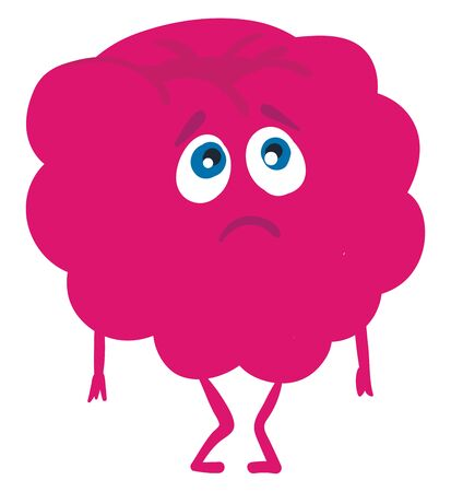 A pink colored inconsolable raspberry with blue eyes looking sad and having two tiny hands and legs, vector, color drawing or illustration.
