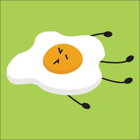 This is an image of fried egg and normally egg is fried on fry pan using little oil., vector, color drawing or illustration. Stock Illustratie