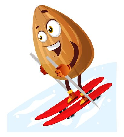 Happy almond skiing on red skis, illustration, vector on white background.