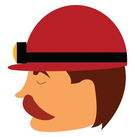 A miner wearing a safety hat, red in color with a light bulb on it for better visibility inside the mine, vector, color drawing or illustration. Stock Illustratie