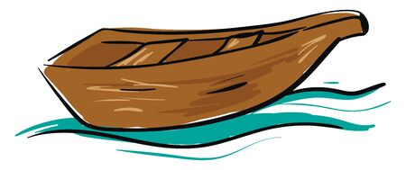 A wooden boat with two seats on the blue waters , vector, color drawing or illustration. Иллюстрация