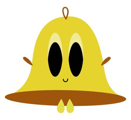 A cute smiling yellow bell with black eyes , vector, color drawing or illustration.