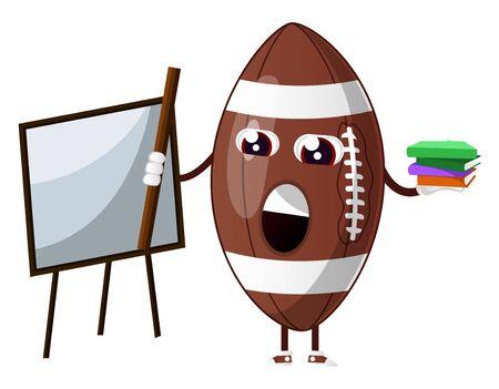 Rugby ball is teaching, illustration, vector on white background. Ilustração