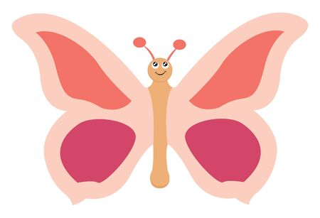 Beautiful pink butterfly with red and purple marks on its wings, vector, color drawing or illustration.