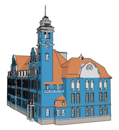 Blue castle, illustration, vector on white background.
