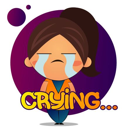 Girl with brown ponytail is crying, illustration, vector on white background.