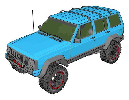 Blue vehicle, illustration, vector on white background.
