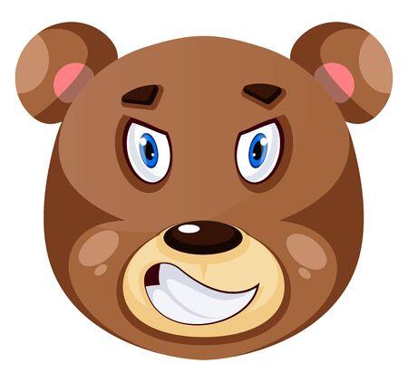 Bear is feeling rage, illustration, vector on white background.