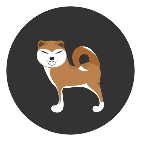 Akita is a Japanese breed dog. It is a muscular large dog with erect ears, typically stiff coat and long tail curled over its back., vector, color drawing or illustration.