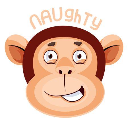 Monkey is feeling naughty, illustration, vector on white background.