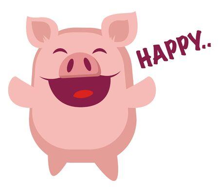 Piggy is happy, illustration, vector on white background. Illustration