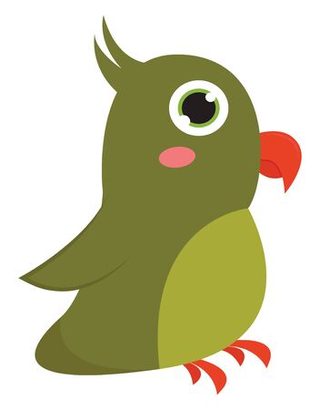 Green color parrot, with small red beak, sparkling eyes, two small claws and a pink color mane, vector, color drawing or illustration.