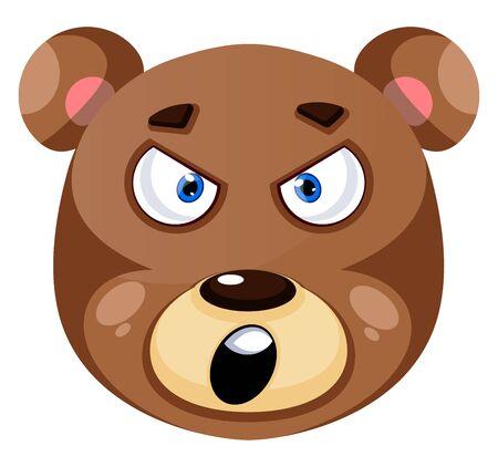 Bär ist wütend, Illustration, Vektor auf weißem Hintergrund. Vektorgrafik