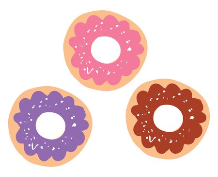 Three doughnuts with different frostings on top, vector, color drawing or illustration.