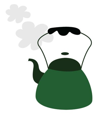 A green colored teapot with handle, letting of steam, vector, color drawing or illustration.