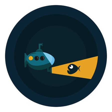 A submarine is warship designed to operate both under water and on the surface of water and typically armed with torpedoes or missiles., vector, color drawing or illustration.