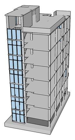 Unfinished building, illustration, vector on white background.