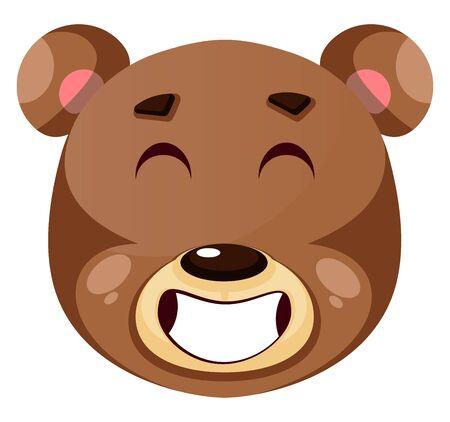 Bear is feeling like a winner, illustration, vector on white background. Stock Illustratie