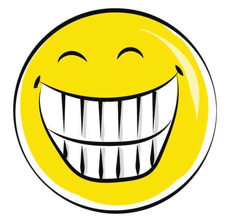A big yellow laughing smiley exposing its teeth, vector, color drawing or illustration. Illustration
