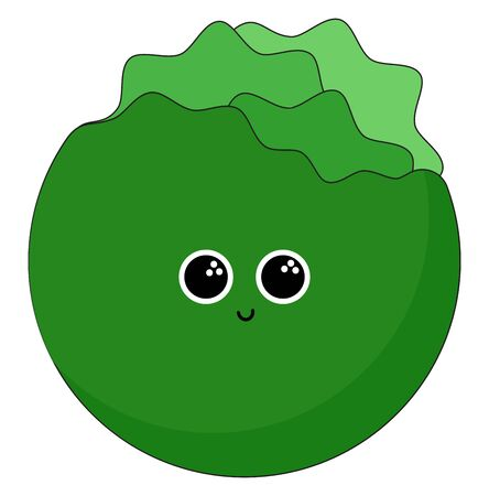 Smiling green colour lettuce with two black eyes, vector, color drawing or illustration.