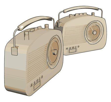 Retro old radio, illustration, vector on white background.