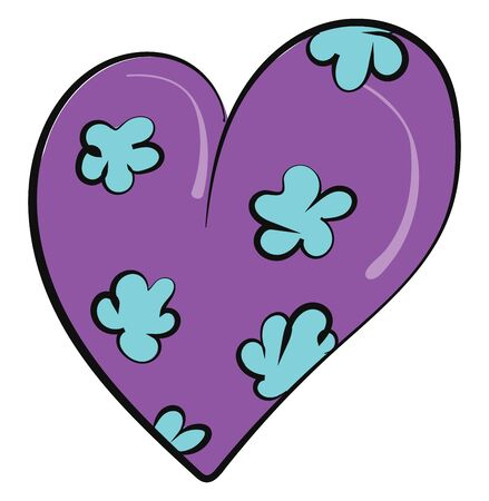 A coloured drawing of a purple colour heart with blue flowers, vector, color drawing or illustration.