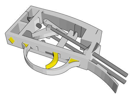 Part of a gun, illustration, vector on white background.