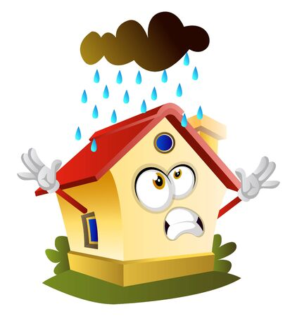 Rain is falling on the house, illustration, vector on white background.