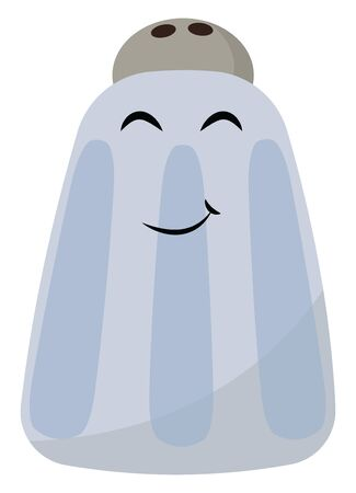 A blue colored salt container with black eyes, vector, color drawing or illustration. Иллюстрация