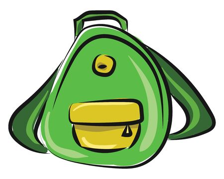 A colour drawing of a green backpack, vector, color drawing or illustration.