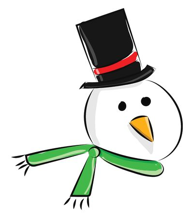 A snowman head wearing a black and red hat and a green scarf, vector, color drawing or illustration. Ilustracja