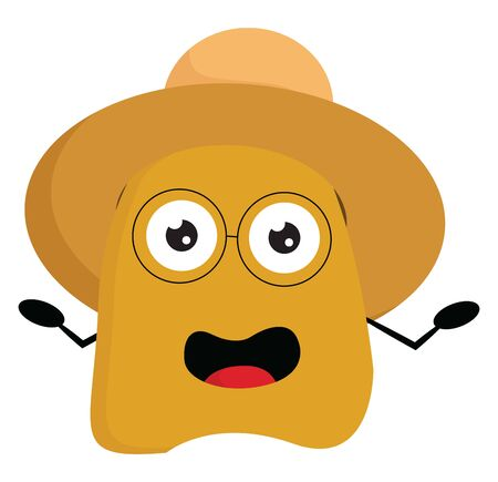 A yellow monster with a rectangular-shaped body, wears a brown summer hat, glass lenses with no frame or temple, hands wide opened, vector, color drawing or illustration.  イラスト・ベクター素材