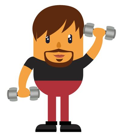 Man with weights, illustration, vector on white background.
