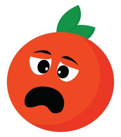 A scared orange with a green leaf, vector, color drawing or illustration. Ilustração