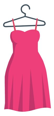 ladies dress in a hanger with shoulder straps., vector, color drawing or illustration.