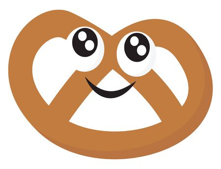 A brown pretzel ready to be eaten, vector, color drawing or illustration.