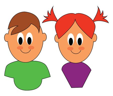 Clipart of cute little twins of different genders, the boy in a green shirt and the girl in a purple top and two side ponytails, vector, color drawing or illustration.