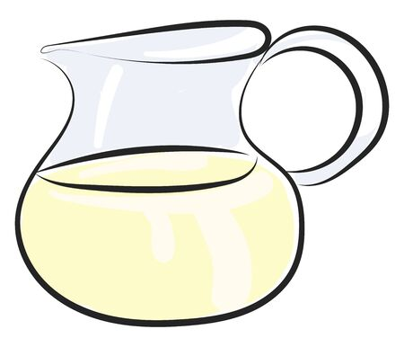 A transparent jug of milk. Milk is a healthy drink, vector, color drawing or illustration.