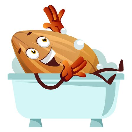 Almond laying in a blue bathtub, illustration, vector on white background. 일러스트