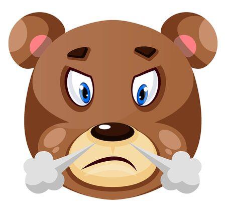 Bär ist frustriert, Illustration, Vektor auf weißem Hintergrund.