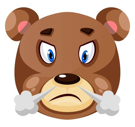 Bear is feeling frustrated, illustration, vector on white background.