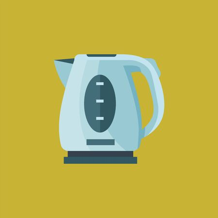 Electric tea kettle, blue in color with a stand and a handle, vector, color drawing or illustration. Stok Fotoğraf - 132697647
