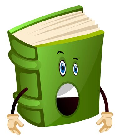 Green book is surprised, illustration, vector on white background.