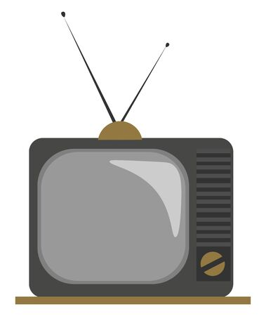 Clipart of an old fashioned TV with two attachable antennas, and a knob on the front to illuminate the scene and adjust the volume of the sound, vector, color drawing or illustration.