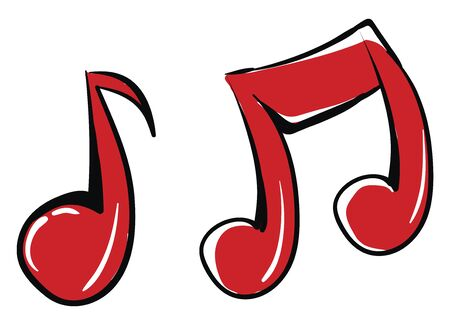Scarlet musical notes denoting different sounds, vector, color drawing or illustration.