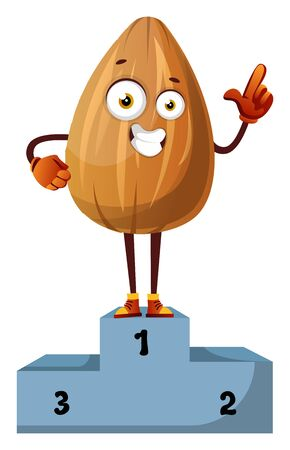 Almon won first place in a race, illustration, vector on white background.