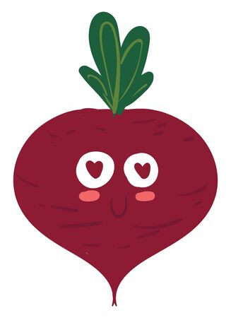 Red color beetroot with green leaves sparkling eyes, vector, color drawing or illustration.