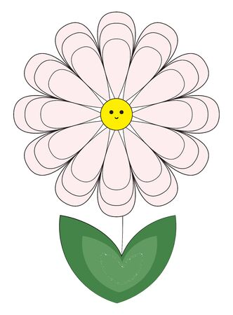 A colour illustration of a fragrant white coloured flower, vector, color drawing or illustration.