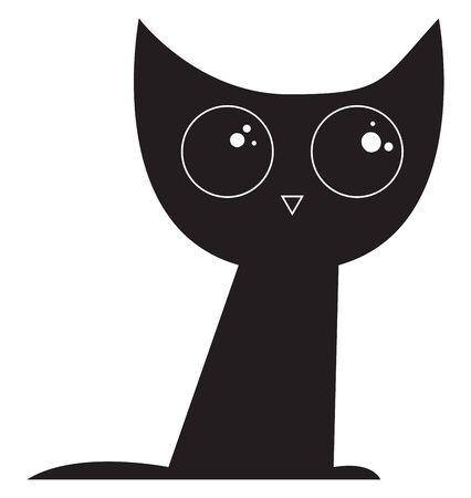 Eine Katze ist ein kleines fleischfressendes Tier mit weichem Fell, einem langen, dünnen Schwanz und Schnurrhaaren, das oft als Haustiere zum Fangen von Mäusen gehalten wird., Vektor, Farbzeichnung oder Illustration.