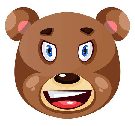 Bear is feeling irritated, illustration, vector on white background.